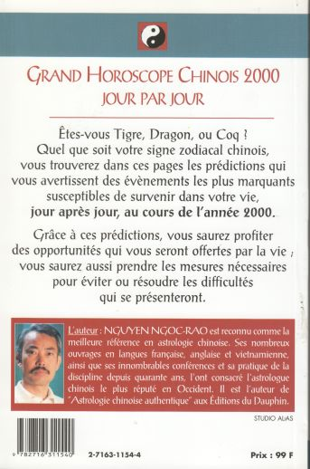 Grand horoscope chinois 2000 (dos)
